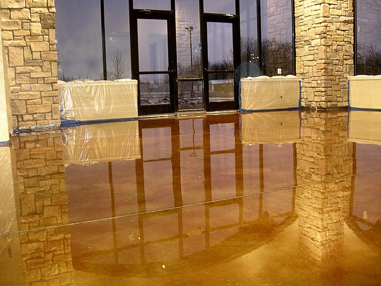 Budget Acid Stained Concrete Floor With A High Sheen