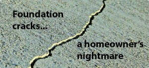 Cracks in a concrete foundation