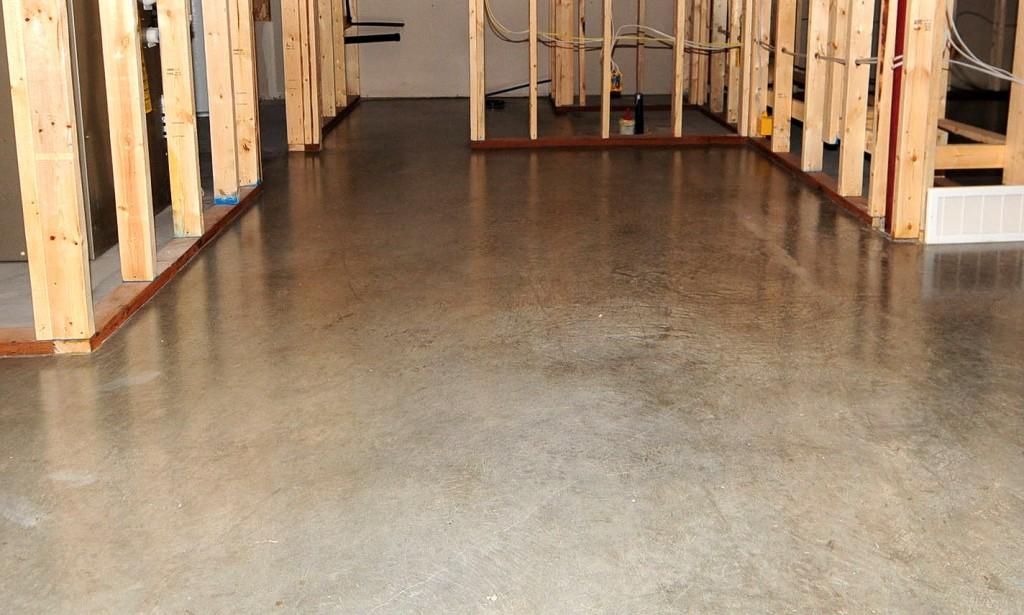 Concrete sealed floor in building under construction