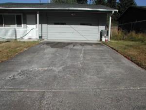 Cracks in a concrete driveway