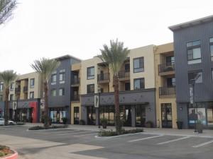 Large apartment concrete surface parking area