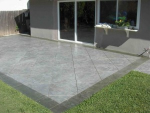 Concrete patio stamped from  fresh concrete
